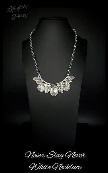 Never Slay Never - Silver with Large White Rhinestones Necklace & Earrings - May 2021 Life of the Party Exclusive