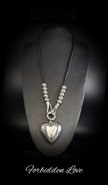 Forbidden Love - Black Leather with Silver Puffy Heart Necklace - March 2021 Life of the Party