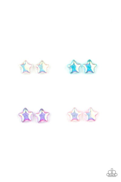 Assorted Iridescent colored Star Earrings for Kids or the Kid at Heart