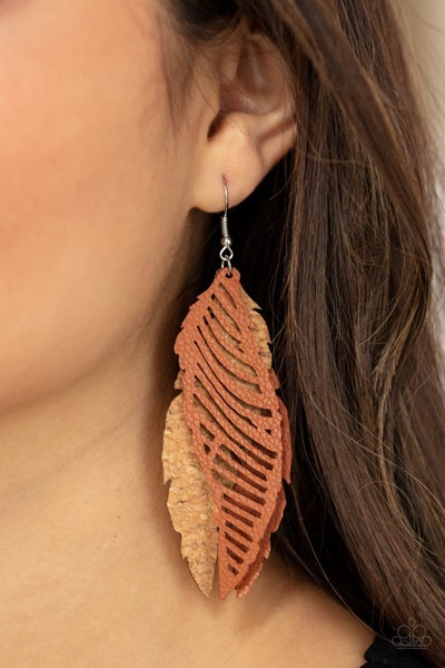 Pre-Order WINGING Off The Hook - Cork and Brown Leather Feather Earrings