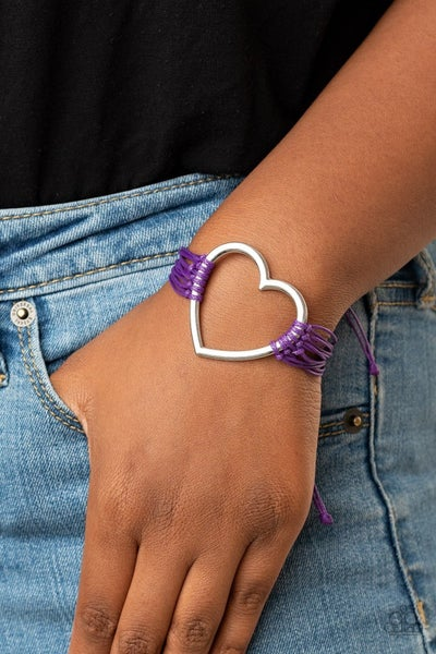 Playing With My HEARTSTRINGS - Silver Heart with Purple Cordage Pull Tight Bracelet