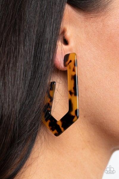 Flat Out Fearless - Multi Acrylic Cheetah Print Hoop Earrings