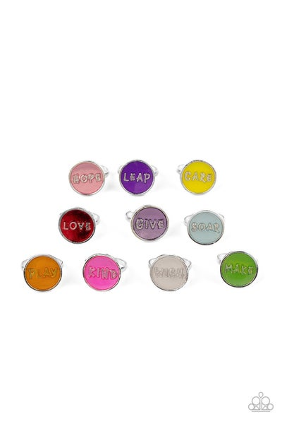 Assorted colors and positive worded adjustable Rings for Kids or the Kid at Heart