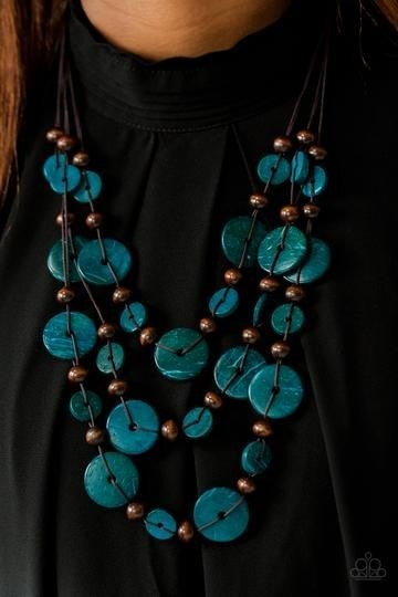 Bahama Bungalow - Layered Brown Wooden Discs with Blue Wooden Beaded Necklace & Matching Earrings