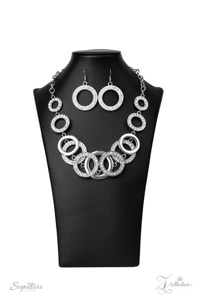 The Keila - Silver Rings Encrusted in Rhinestones Necklace - 2020 Zi Collection