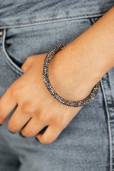 Stageworthy Sparkle - Gunmetal covered in Hematite half coil Bracelet