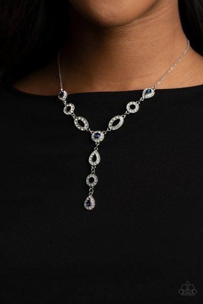 Royal Redux - Blue Rhinestones & White Rhinestones drop Necklace & Earrings