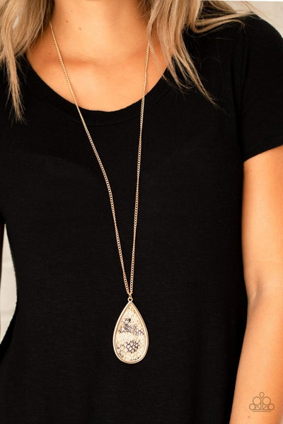 Artificial Animal - Gold & Black Leather Pendant Necklace