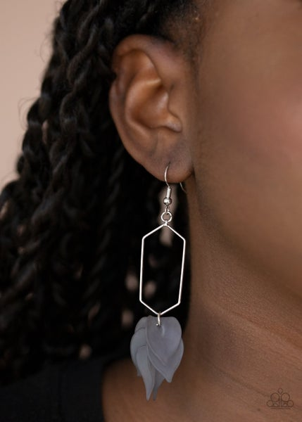 Extra Ethereal - Silver with Silver Acrylic Teardrops Earrings