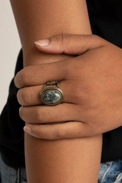 Cliff Dweller Demure - Brass with oval Green Stone center Ring