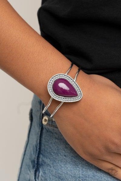 Over The Top Pop - Silver with Purple Teardrop Bead Cuff Bracelet