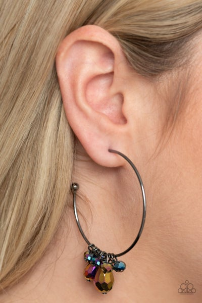 Dazzling Downpour - Hoops with Multi Oil Spill Teardrop Crystals Earrings