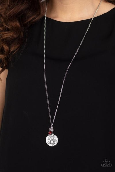Liberty And Justice For All - Silver engraved Pendant with Red Bead charm Necklace & Earrings - duplicate