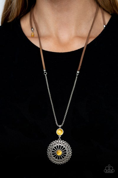Pre-Sale Where No MANDALA Has Gone Before - Silver & Brown Suede with a Silver Charm featuring a Yellow Cat's Eye Necklace & Earrings