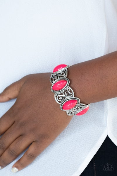 POP, Skip, and a Jump - Silver with large marquis-cut Pink beads Stretch Bracelet