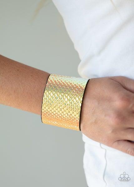 Galactic Galapagos - Iridescent Yellow Crocodile-Like Print Snap Bracelet