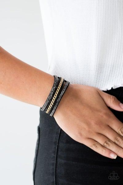 Rollin In Rhinestones - Black Suede with Hematite, Black Rhinestones & Gold Chain Snap Bracelet