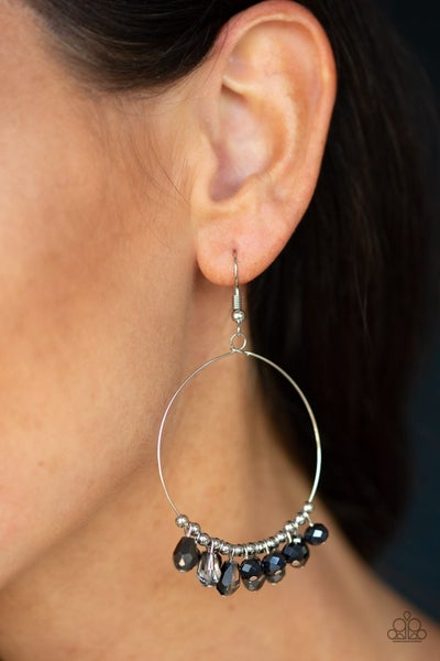 Crystal Collaboration - Silver Hoops with Faceted Blue Crystals Earrings