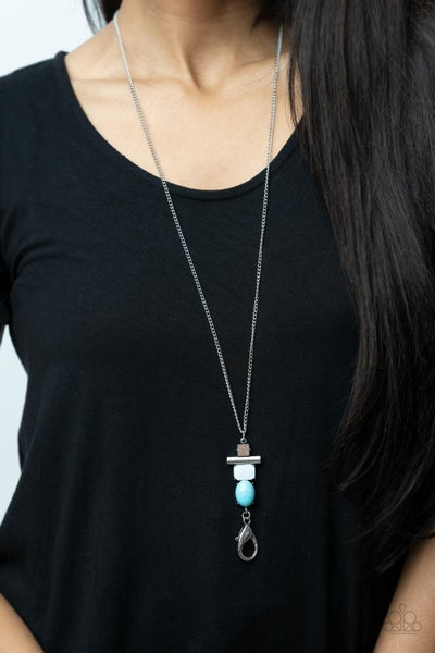 Natural Novice - Silver with Wood, White Shell & Turquoise Lanyard Necklace & Earrings