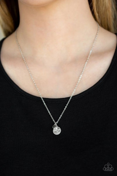 """World's Best Mom - Silver with a rhinestone disc stamped """"Mom"""" and a heart charm Necklace & Earrings"""