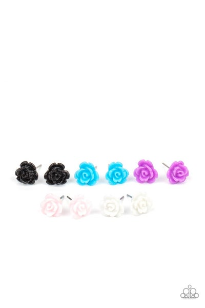 Assorted Colored Acrylic Rose Bud Post Earrings for Kids or the Kid at Heart