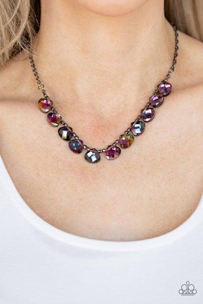 Catch a Fallen Star - Gunmetal with Oil Spill Teardrop Faceted Gems Necklace