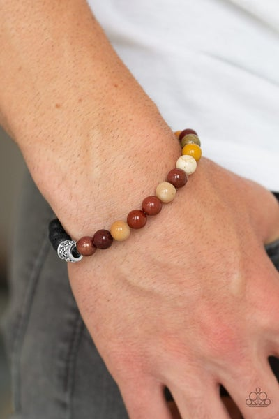 Take It Easy - Yellow & Brown Beads with Black Lava Beads Bracelet