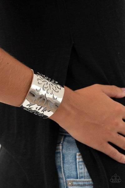 Get Your Bloom On - Silver Framed over Silver Leather Cuff Bracelet