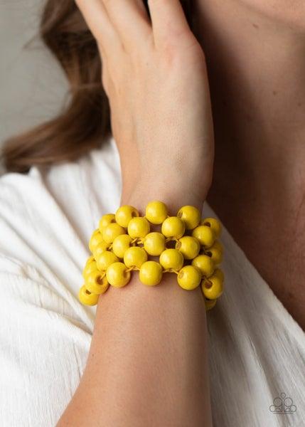 Tiki Tropicana - Yellow Wood Stretch Bracelet