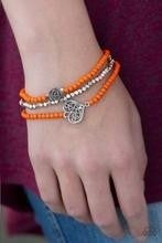 Lovers Loot - Orange stretch Bracelets with Heart Charms