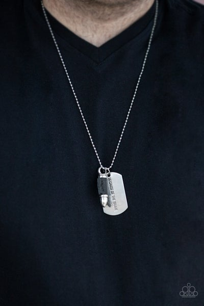 Pre-Order Proud Patriot - Silver Dog Tag & Black Leather wrapped Bullet Necklace (no earrings)