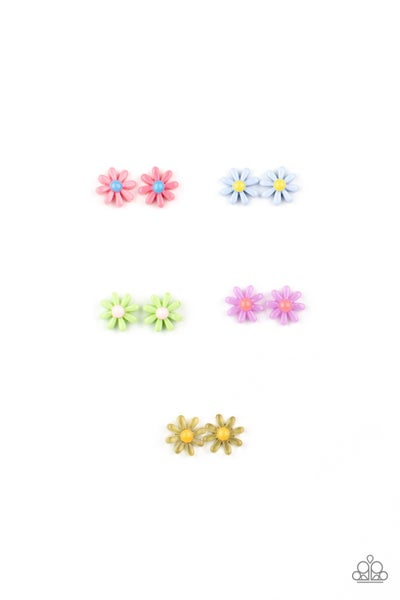 Assorted Colored Floral Post Back Kid's Earrings
