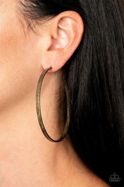 Lean Into The Curves - Brass Hoop Earrings