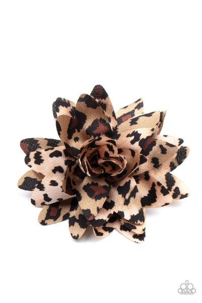 Jungle Paradise - Multi - Brown with Black Animal Print Hair Bow