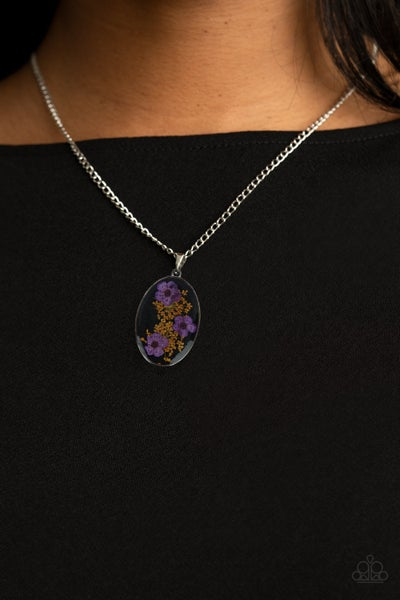 Pre-Sale Prairie Tea Party - Silver Pendant with a Purple & Marigold enclosed in Acrylic Necklace & Earrings