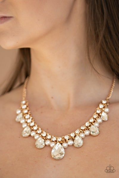 Knockout Queen - Gold with White Rhinestones Necklace & Earrings