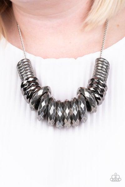 Haute Hardware - Silver & Gunmetal Necklace & Earrings