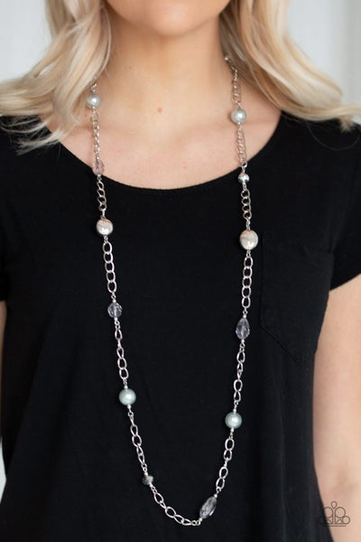 Only For Special Occasions - Silver with shiny and silver pearly beads Necklace