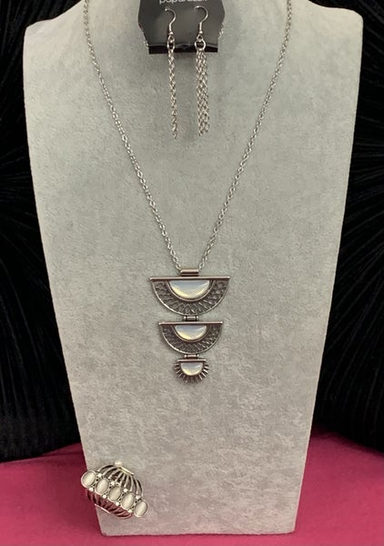 Serene Sheen & Bling Your Heart Out - Silver with Iridescent White Necklace & Ring Set
