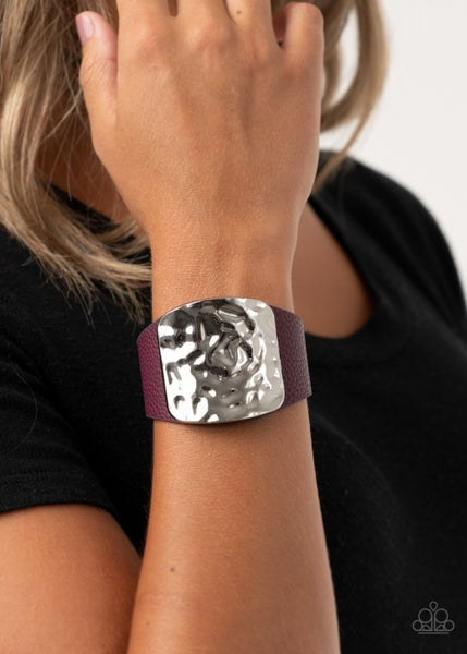 Brighten Up - Purple Leather with hammered silver square center Snap Bracelet