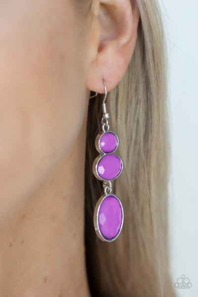 Tiers Of Tranquility - Purple dewy Oval Gems Earrings