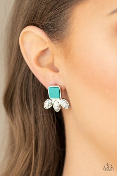 Hill Country Blossoms - Silver with square Turquoise center & marquise White Crackle petal Earrings