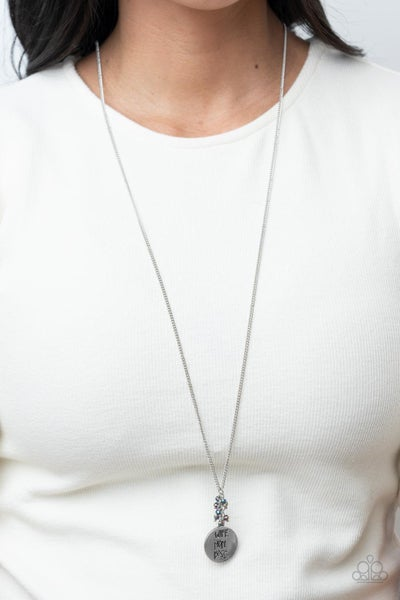"""Words To Live By - Silver """"Wife, Mom, Boss"""" pendant with Multi-Iridescent Oil Spill Beads Necklace & Earrings"""