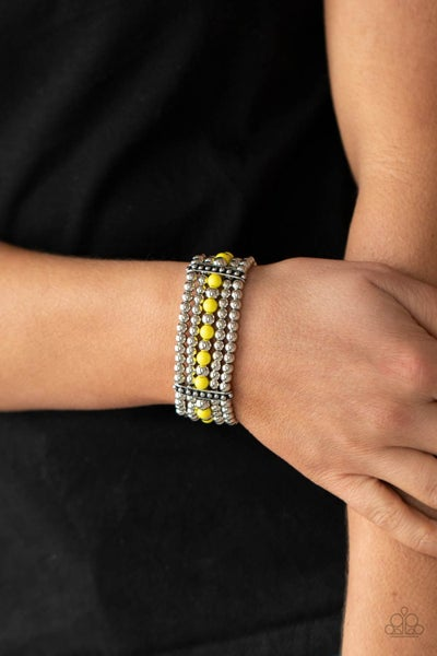 Pre-Sale Gloss Over The Details - Silver Strands with a single row of Yellow Beads Stretch Bracelet