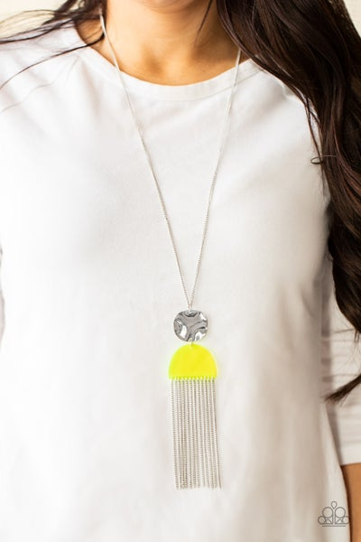 Color Me Neon - Silver with Yellow Acrylic over fringe Necklace & Earrings