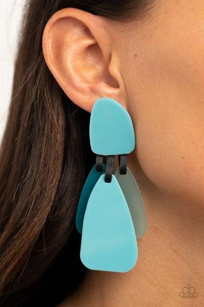 Pre-Sale All FAUX One - Blue Acrylic Earrings