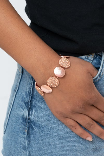 Pre-Sale Tough LUXE - Oval Copper Discs with alternating Copper Discs with Peach Rhinestones Bracelet