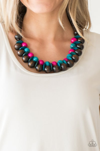 Caribbean Cover Girl - Brown, Pink & Blue Wooden Beaded Necklace & Earrings
