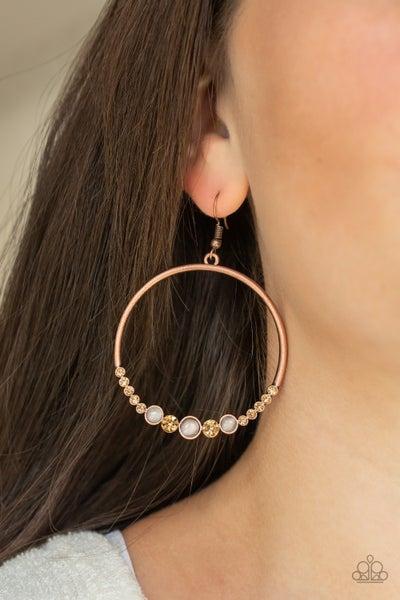 Dancing Radiance - Copper with Cat's Eye Moonstone Gem Earrings