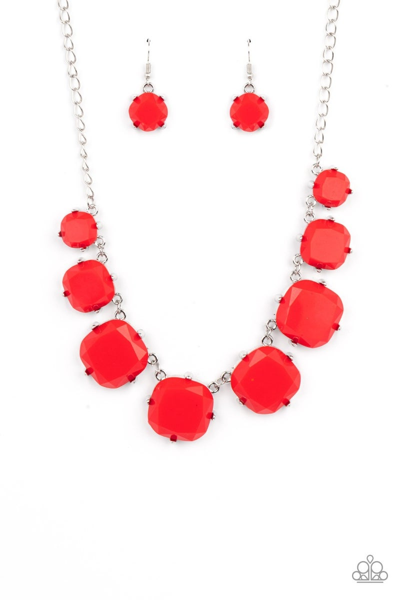 Prismatic Prima Donna - Red faceted Beads in Silver Necklace & Earrings